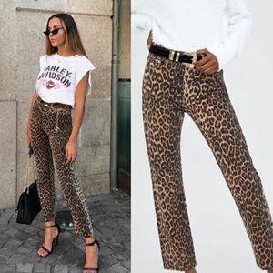 Zara the high waist skinny leopard fall NWT